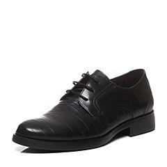 BATA/拔佳2017春季新款专柜同款黑色牛皮男单鞋83D02AM7