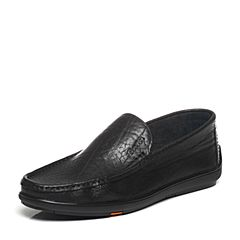 BATA/拔佳2017春季新款专柜同款黑色牛皮男乐福鞋A9N31AM7