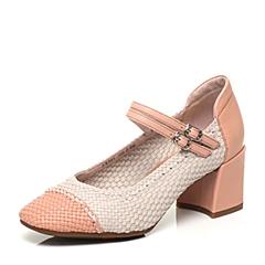 Bata/拔佳春季专柜同款时尚编织圆头粗跟玛丽珍女单鞋AX201AQ7