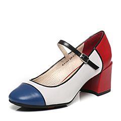 Bata/拔佳春季专柜同款时尚拼色圆头粗跟玛丽珍女单鞋AX206AQ7(领红包更优惠)