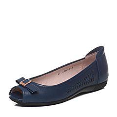 Bata/拔佳春季专柜同款深兰色编织蝴蝶结羊皮鱼嘴女凉鞋AC616AU7