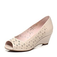 Bata/拔佳春季专柜同款时尚镂花牛皮米色鱼嘴女凉鞋ARL31AU7