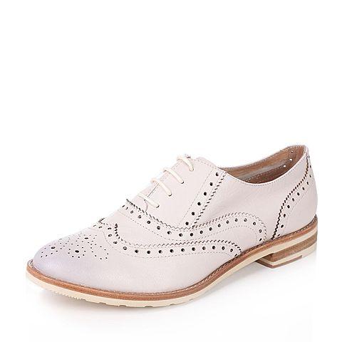 BATA/拔佳2017夏季专柜同款米色镂花英伦风山羊皮女皮鞋AWG20BM7