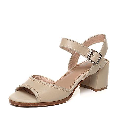 Bata/拔佳夏季专柜同款米白色时尚简约粗跟牛皮女凉鞋-T837BL7