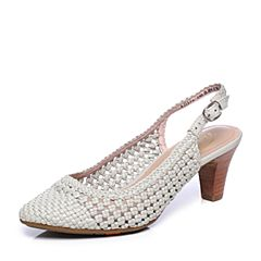 Bata/拔佳夏季专柜同款浅灰优雅编织包头粗跟OL通勤后空女凉鞋AD314BH7