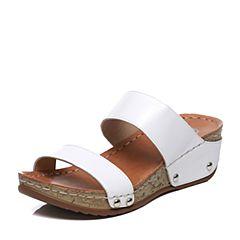 Bata/拔佳夏季专柜同款白色舒适坡跟日常休闲牛皮女拖鞋9-G68BT7
