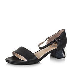 Bata/拔佳夏季黑色时尚优雅方跟牛皮女凉鞋72108BL7