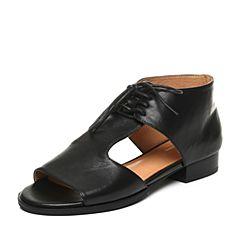 Bata/拔佳夏季黑色时尚包跟系带小牛皮女凉鞋AZ101BL7