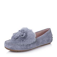 Bata/拔佳2017秋季专柜同款灰色羊猄/免毛女单鞋-H101CM7
