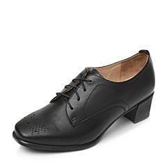 Bata/拔佳2017秋季专柜同款黑色时尚雕花粗跟女单鞋(软)AAS22CM7