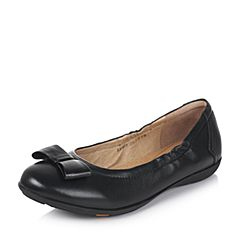 Bata/拔佳2017秋季专柜同款黑色蝴蝶结绵羊皮女单鞋(软)AM803CQ7