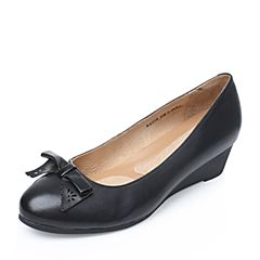 Bata/拔佳2017秋季专柜同款黑色蝴蝶结胎牛皮女单鞋(软)AZ802CQ7