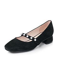 Bata/拔佳2017秋季黑色时尚珍珠方头羊绒皮女玛丽珍鞋633-2CQ7
