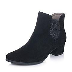Bata/拔佳秋季专柜同款黑色时尚优雅羊绒皮女短靴11-87CD6