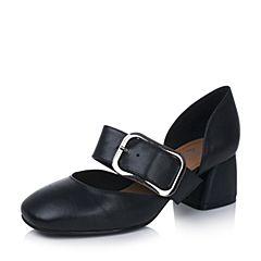 Bata/拔佳2017专柜同款黑色一字扣带复古方头女玛丽珍鞋78-91BK7