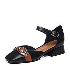 Bata/拔佳夏季专柜同款黑色皮带扣方头一字式扣带牛皮女凉鞋996-2BK7