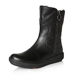 Bata/拔佳冬专柜同款黑色圆头平跟牛皮女休闲中靴ABN50DZ7