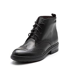 Bata/拔佳2017冬专柜同款黑色圆头系带雕花牛皮女短靴AAZ41DD7