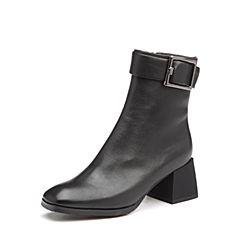 Bata/拔佳2017冬专柜同款黑色方头粗跟皮带扣牛皮女中靴ACC50DZ7
