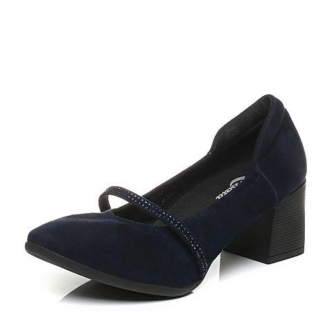 Bata/拔佳2017秋季专柜同款蓝色优雅粗跟羊绒皮女奶奶鞋106-8CQ7