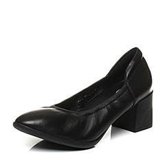 Bata/拔佳2017秋专柜同款黑色粗跟圆头羊皮奶奶鞋女单鞋106-3CQ7