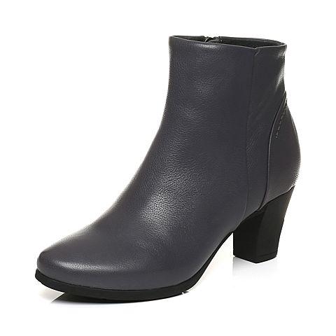 Bata/拔佳冬专柜同款深灰圆头粗高跟圆头牛皮女短靴ABA42DD7