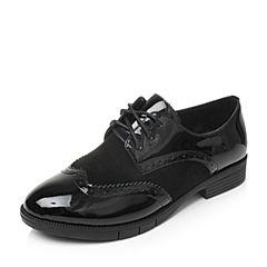 Bata/拔佳2017秋季黑色时尚雕花拼接方跟女单鞋802-7CM7