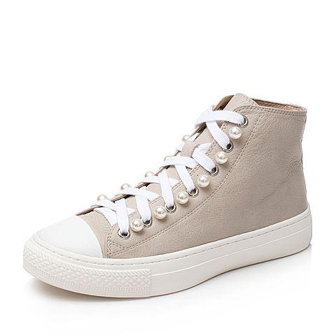 Bata/拔佳杏色时尚珍珠厚底牛皮女休闲短靴YY15DCD7