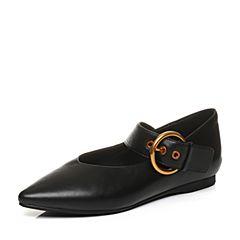 Bata/拔佳秋专柜同款黑色尖头低跟小v口羊绒皮玛丽珍鞋女单鞋33-09CQ7