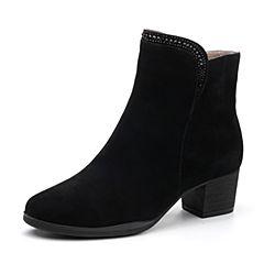 Bata/拔佳冬专柜同款黑色圆头粗跟羊绒皮女短靴26-11DD7