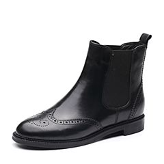 Bata/拔佳冬专柜同款黑色圆头方跟英伦风牛皮切尔西女短靴118-2DD7