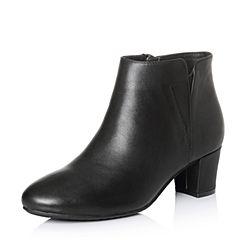 Bata/拔佳冬专柜同款黑色圆头粗跟牛皮及踝靴女短靴-301ADD7
