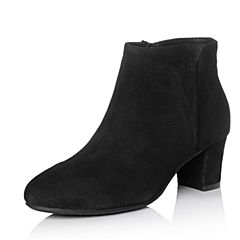 Bata/拔佳冬专柜同款黑色圆头粗跟羊绒皮及踝靴女短靴-301ADD7