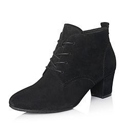 Bata/拔佳2017冬专柜同款黑色圆头粗跟系带羊绒皮女短靴-309ADD7