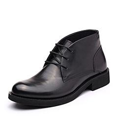 Bata/拔佳2017冬专柜同款黑色圆头方跟系带牛皮男短靴A5S48DD7