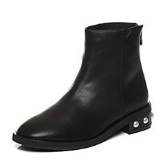 Bata/拔佳2017冬黑色圆头方跟时尚珍珠牛皮女短靴716-3DD7