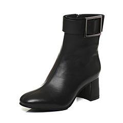 Bata/拔佳2017冬黑色圆头粗跟皮带扣牛皮女短靴313-6DZ7
