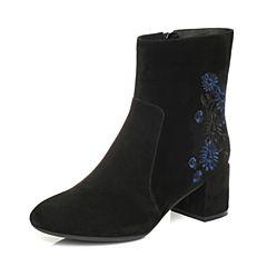 Bata/拔佳2017冬黑色圆头粗跟时尚刺绣羊绒皮女中靴395-3DZ7