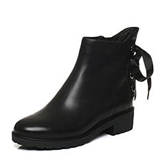 Bata/拔佳2017冬黑色时尚丝带圆头方跟牛皮女短靴415-7DD7