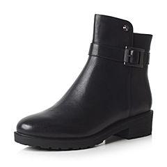 Bata/拔佳2017冬黑色圆头方跟时尚皮带扣牛皮女短靴415-2DD7