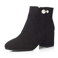 Bata/拔佳2017冬黑色复古方头粗跟时尚珍珠羊皮女短靴22-13DD7