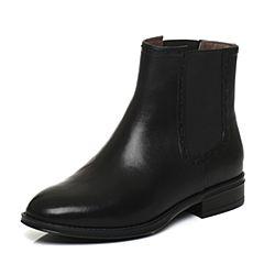 Bata/拔佳2017冬黑色圆头方跟牛皮切尔西靴女短靴02-55DD7