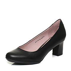 Bata/拔佳2018春专柜同款黑色OL通勤圆头粗跟胎牛皮浅口女单鞋AQ509AQ8