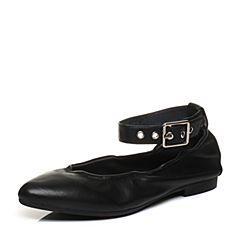 Bata/拔佳2018春专柜同款黑色尖头低跟绵羊皮玛丽珍浅口女单鞋AYL12AQ8