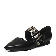 Bata/拔佳2018春专柜同款黑色优雅尖头OL通勤羊皮玛丽珍女凉鞋AI334AK8