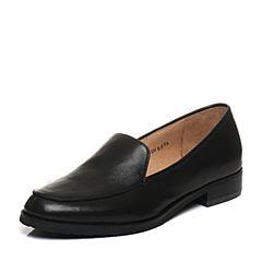 Bata/拔佳2018春专柜同款黑色圆头方跟套脚羊皮女单鞋AQ282AM8