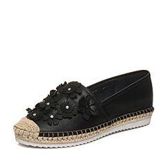 Bata/拔佳2018春专柜同款黑色立体花朵舒适休闲平跟牛皮女单鞋AS727AM8