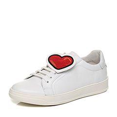 Bata/拔佳2018春专柜同款白色圆头平跟趣味图案鸳鸯女单鞋小白鞋AV273AM8