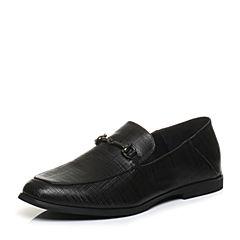 Bata/拔佳2018春专柜同款黑色圆头套脚马衔扣乐福鞋男单鞋85S10AM8