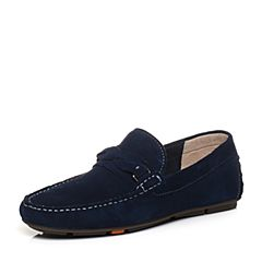 Bata/拔佳2018春专柜同款兰色圆头平跟套脚牛皮乐福鞋男单鞋A8S35AM8
